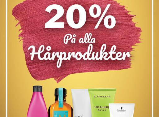 20% på alla hårprodukter!