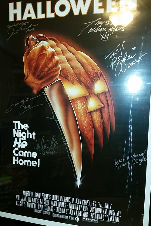 27X40 Halloween Poster Signed by 7 - Including 4 Michael Myers