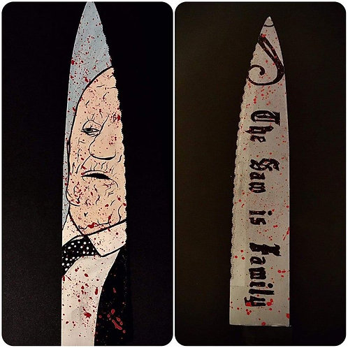 John Dugan Signed Knife with Texas Chainsaw Massacre Artwork