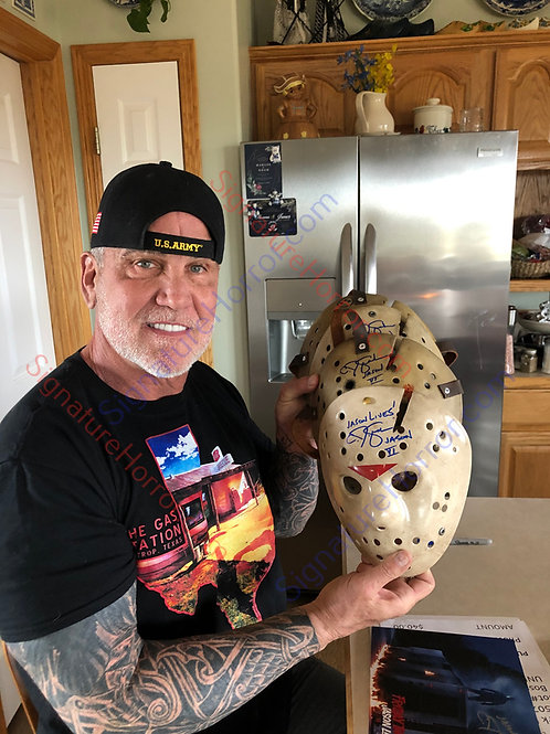 Jason Lives: Friday the 13th Part VI Replica Hockey Mask - Signed by 8