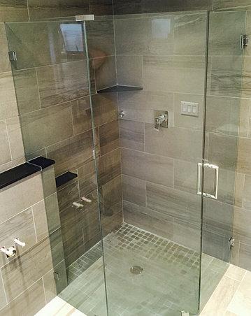 frameless no threshold shower
