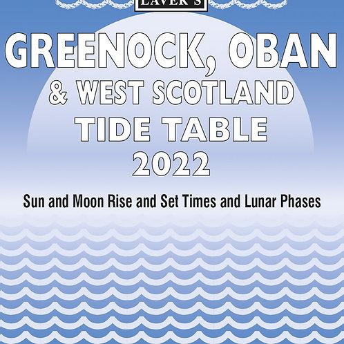2022 Greenock, Oban & West Scotland  Tide Table