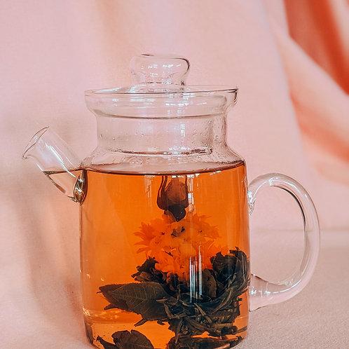 Blooming Tea - White Tea, Rose Bud, Jasmine, Marigold, and Lychee Flavour