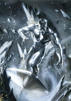 An image of the Marvel character Silver Surfer by the artist Gabriele Dell'Otto