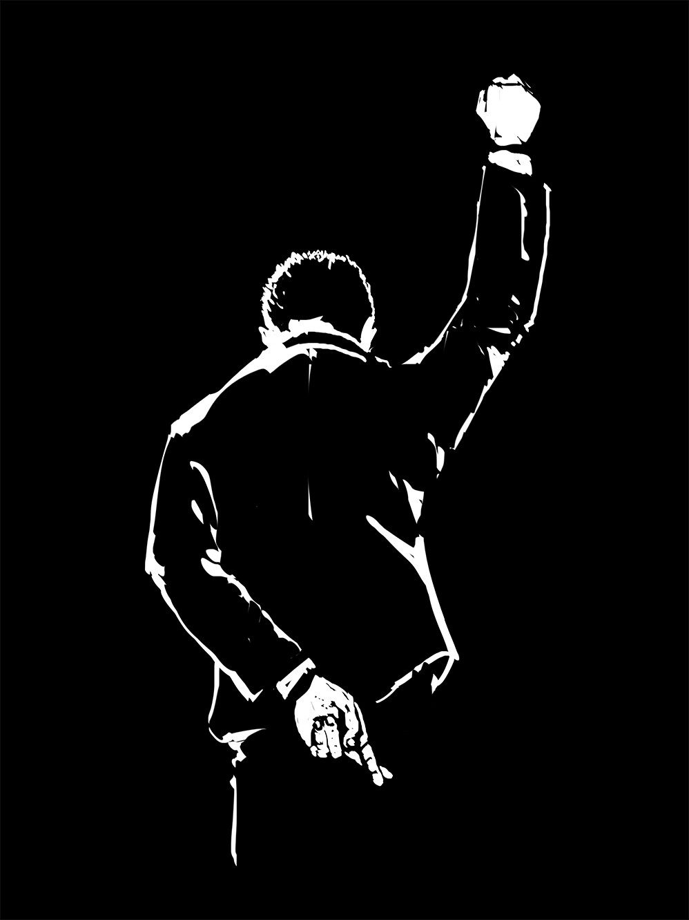 Illustration of a businessman bowing, making a Black Power fist but crossing his fingers behind his back.