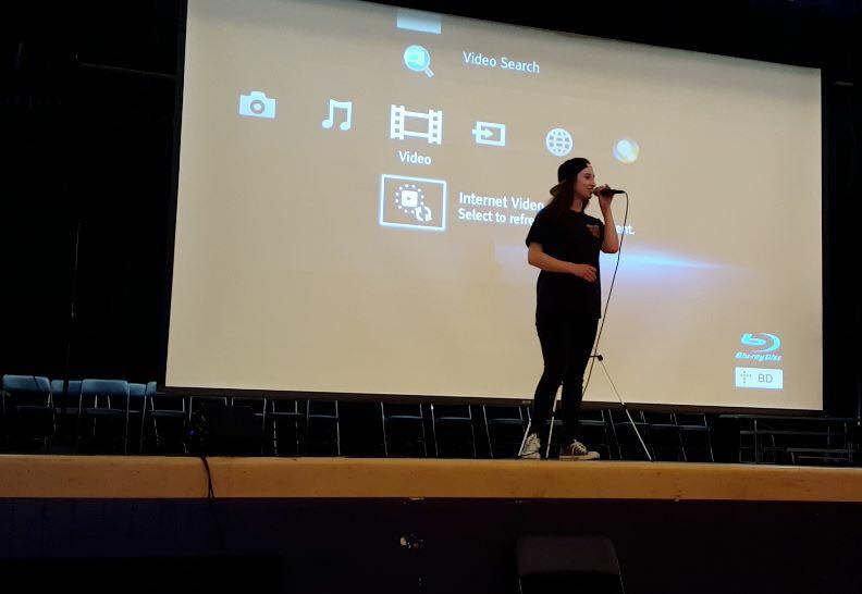 Shannon Remy performing at Garvey Interemediate School