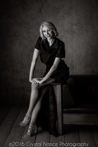 Unique Styled Black & White Senior Portrait by Crystal Nance Photography