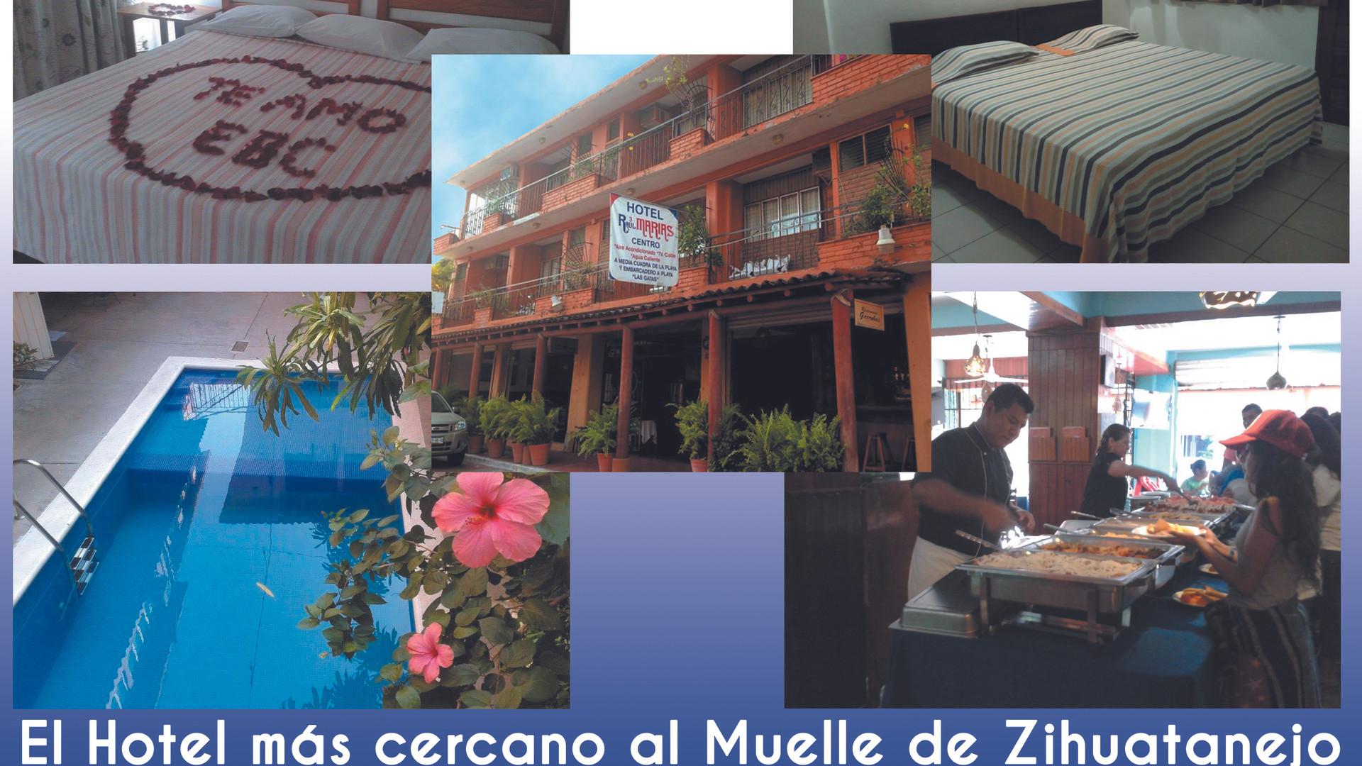 El Hotel más cercano al Muelle de Zihuatanejo  Hotel Raúl 3 Marías Centro, es un Hotel100 % Familiar, además de ser el preferido por generaciones de pescadores de Pesca Deportiva.  Todas las habitaciones cuentan con: ~ Aire Acondicionado ~ Baño privado con agua caliente ~ TV Cable ~ 10 habitaciones de 20 cuentan con balcón privado. ~ WiFi en la zona de Restaurant y Alberca ~ Tarifas especiales a Grupos  RESERVACIONES:  Cel. +52 777 363 0933 Cel. +52 755 114 1036