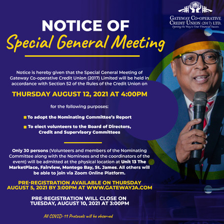 Join the Special General Meeting!  All Members Invited!