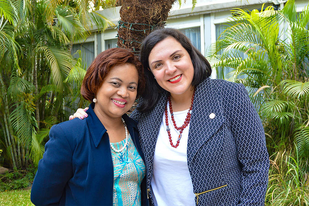 Adriana La Valley, Chief Operations Officer of the Inter-American Development Bank with Melanie Williams, National Financial Inclusion Coordinator of the BOJ