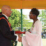 Novia receives the Order of Distinction of Jamaia, Officer Class from Sir Patrick Allen