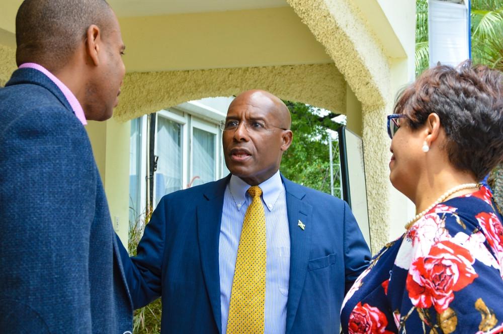 Senator Aubyn Hill in discussion at the recent PSOJ & JBA Workshop