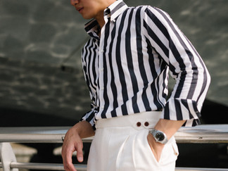 Albini Bold Black and White Stripes Shir
