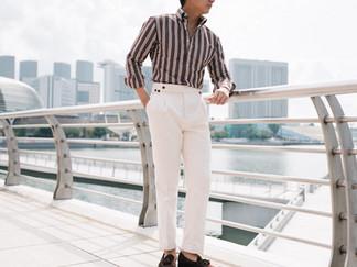 Albini Brown Stripes Linen Shirt 1.jpg