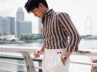 Albini Brown Stripes Linen Shirt 4.jpg