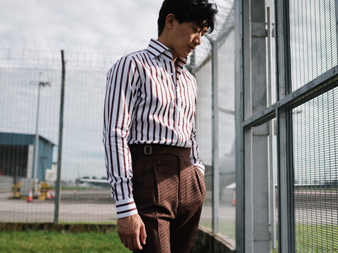 Albini Brown Stripes Shirt 2.jpg