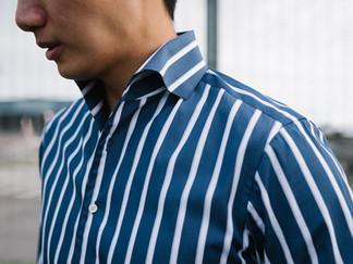 Albini Dark Blue and White Stripes Shirt