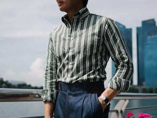 Albini Green Stripes Linen Shirt 2.jpg