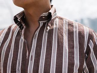 Albini Brown Stripes Linen Shirt 5.jpg