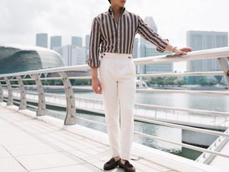 Albini Brown Stripes Linen Shirt 2.jpg