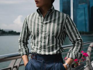 Albini Green Stripes Linen Shirt 4.jpg