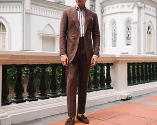 Cinnamon Brown Wool Silk Linen Suit 10.j