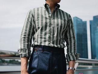 Albini Green Stripes Linen Shirt 1.jpg