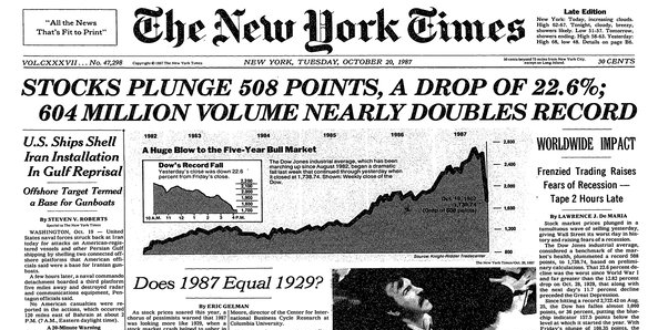 "Le Krach de 1987 ou le ""Black Monday"""