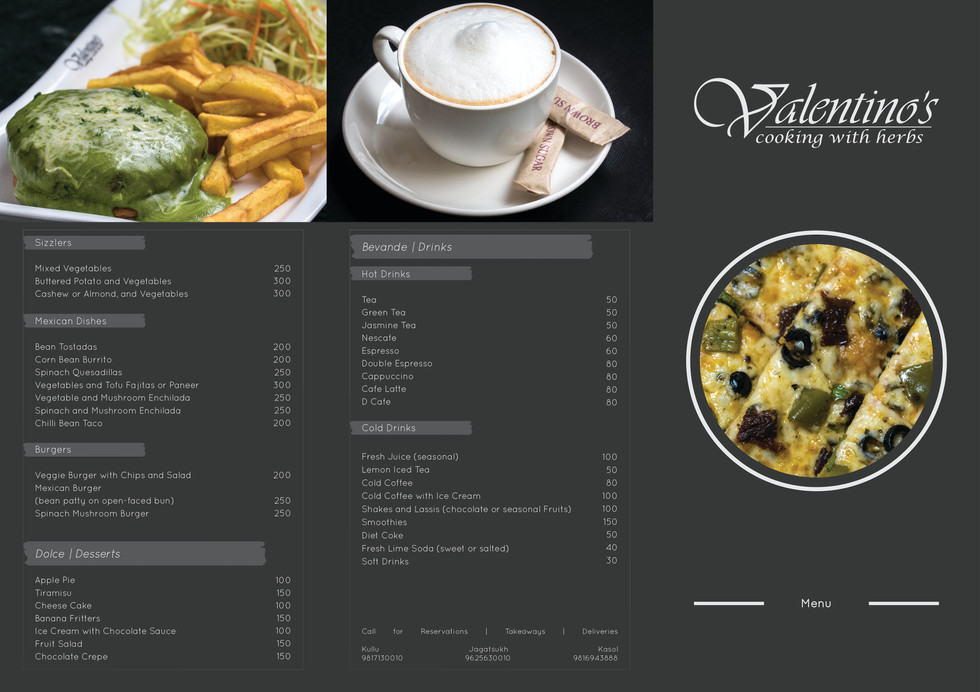 Restaurant Menu for Valentino's, Kullu, HP