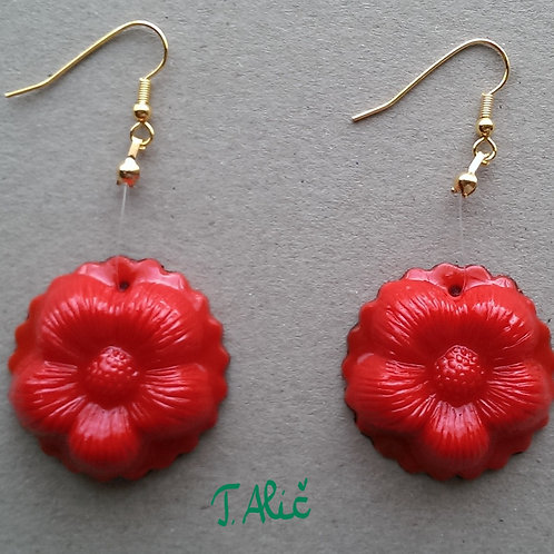 Product 47/2017 (Red Glossy Drop Earrings)