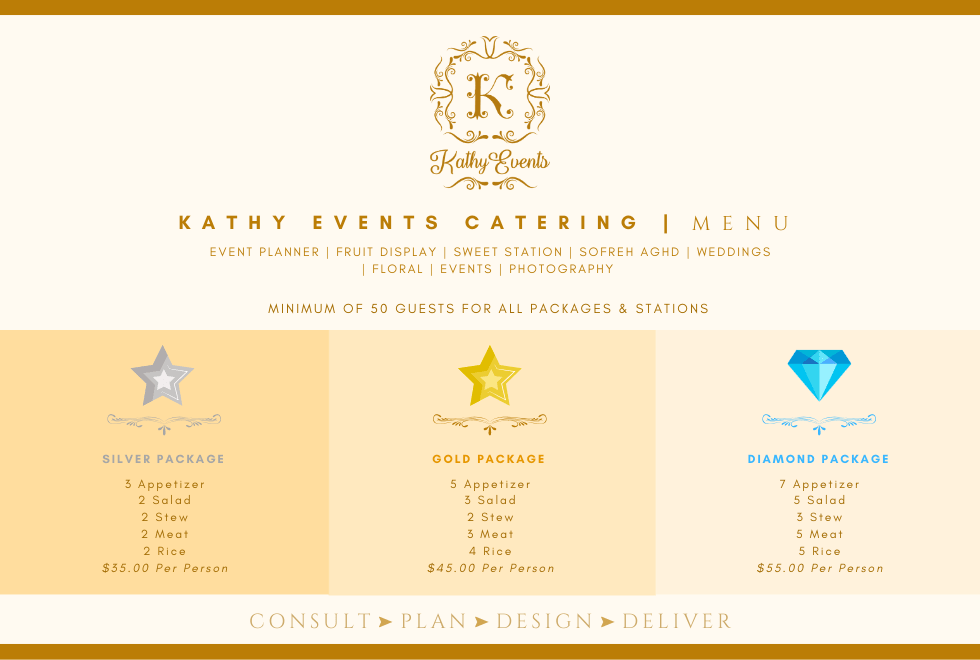 Kathy Events Catering Menu