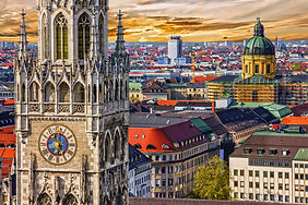 Munich architectural sunset view, German