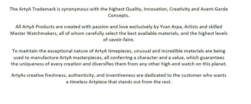 introduction of the brand ArtyA