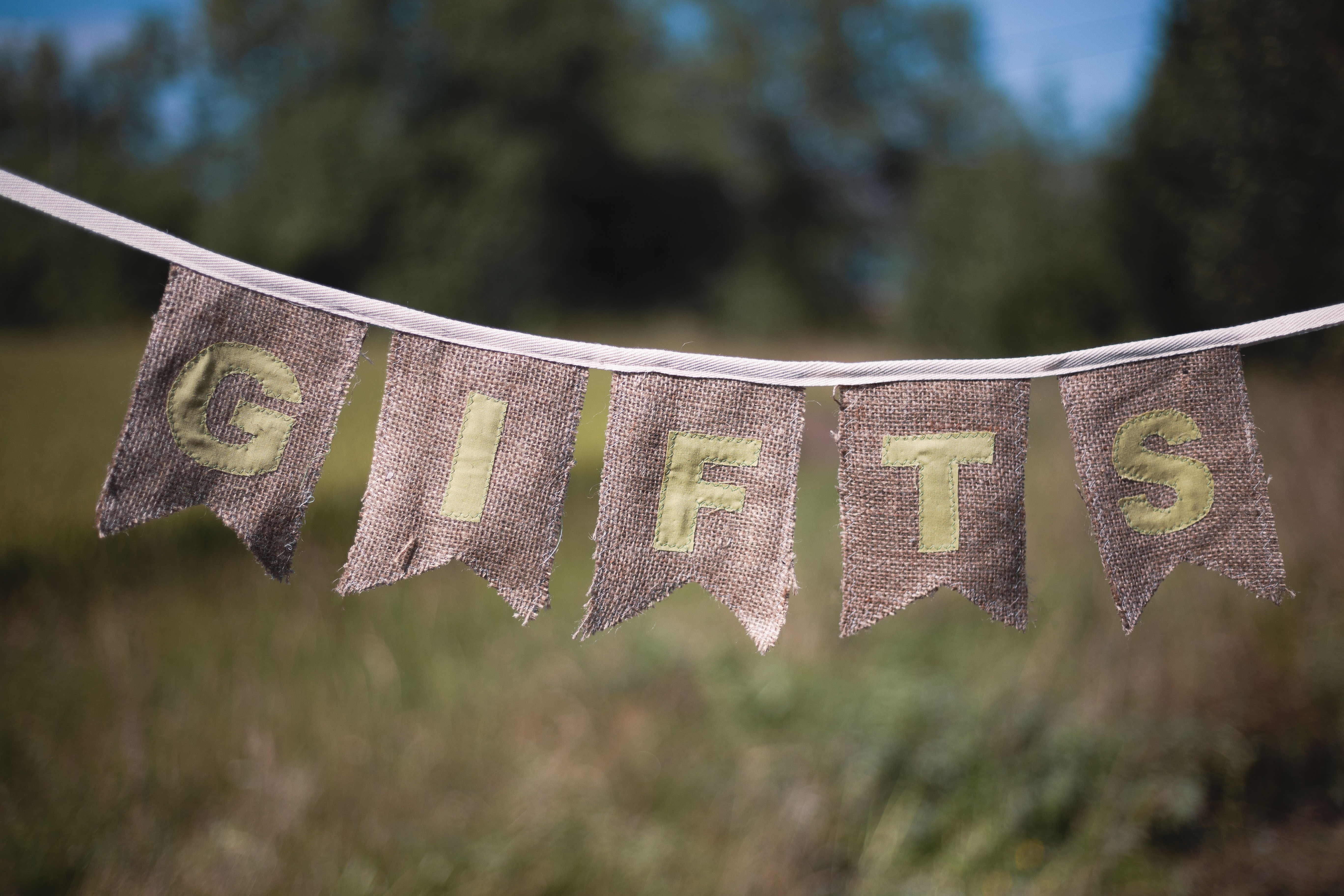 "Green ""Gifts"" Hessian Bunting"