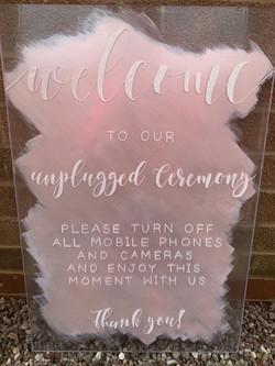 Unplugged Ceremony Sign on Acrylic