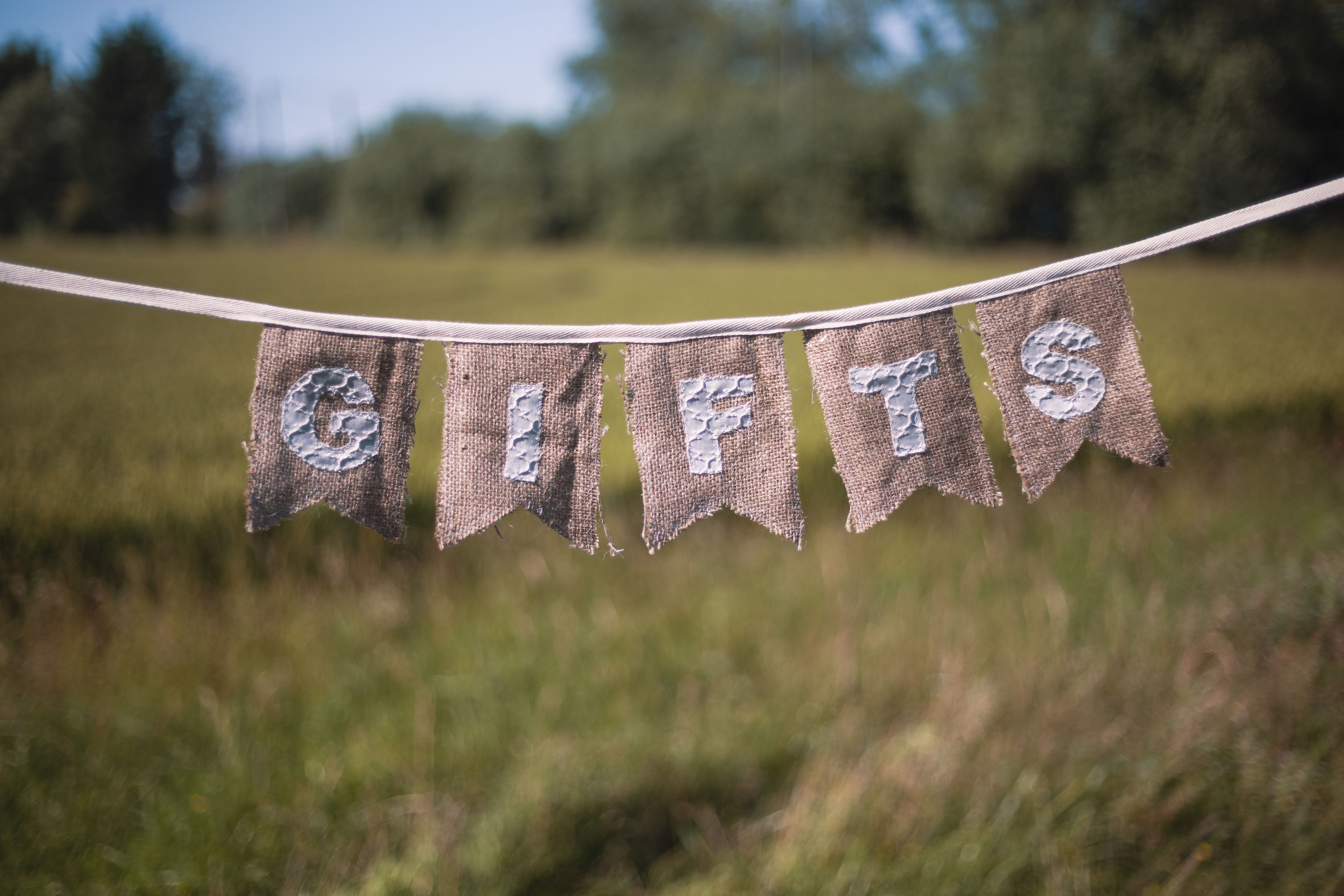 "Silver Hessian ""Gifts"" Bunting"