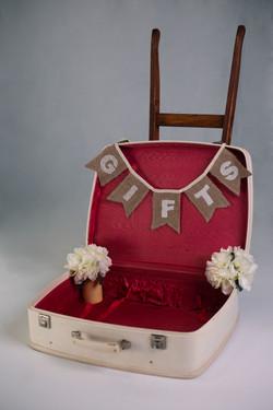 Vintage White Suitcase