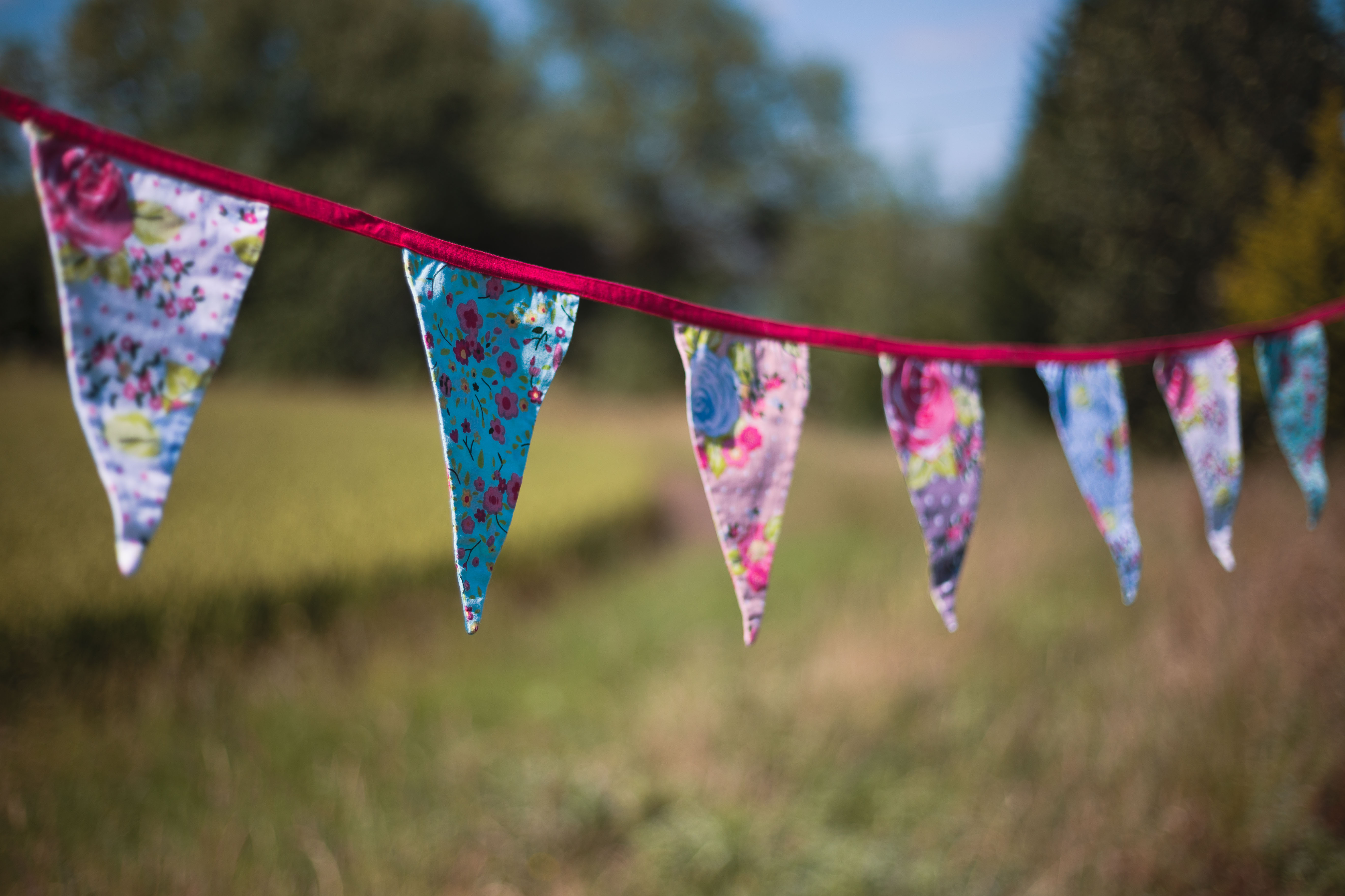 Floral Multi Coloured Fabric Bunting