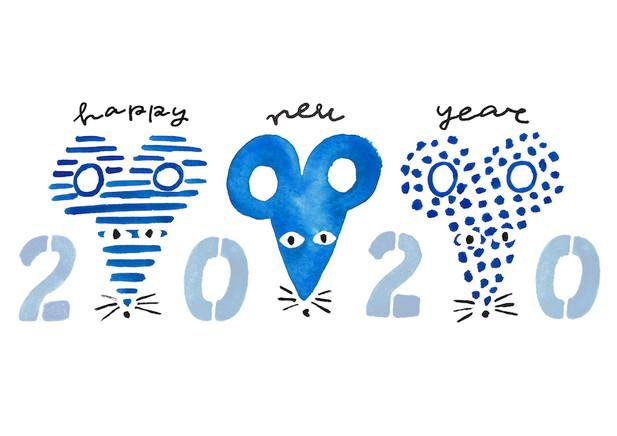 キンコーズ年賀状 三匹のネズミ