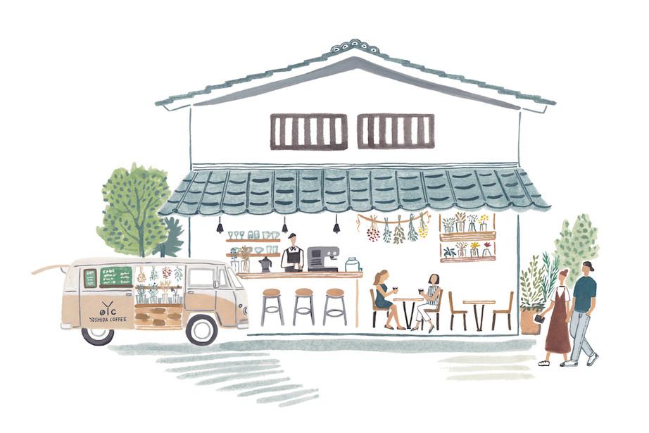 YOSHIDA COFFEE カフェイラスト