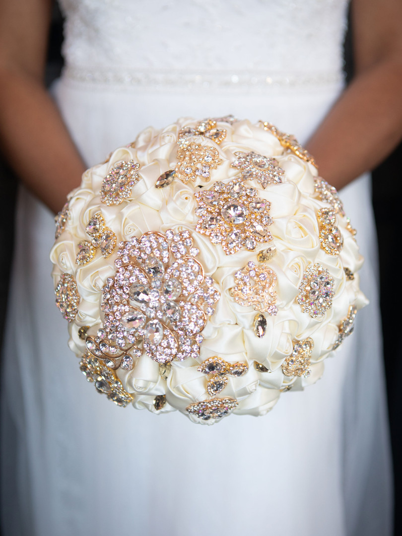 Satin Rose Bouquet with Brooches