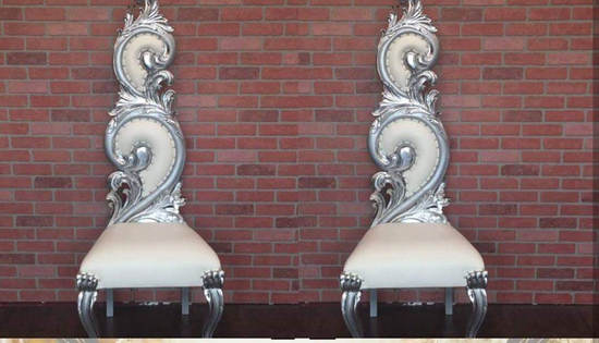 """""""Sexy"""" Tall Silver and White Throne Chair"""