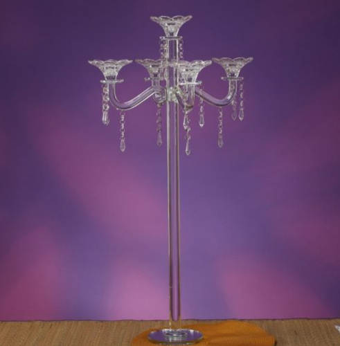 Glass Crystal Candelabra 34.5 Tall-5 Arms