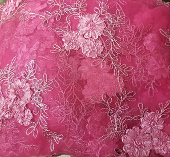 "Fuchsia Baby Rose Embroidery Overlay 90""x90"""