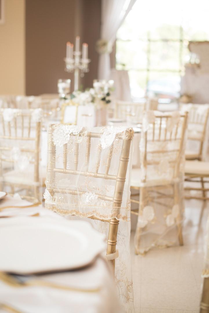 Gold Chiavari Chairs and Sheer Floral Chair Backs