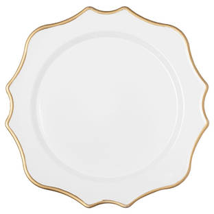 Rental White Trim In Gold Lotus-Scalloped-Acrylic-Charger-Plate