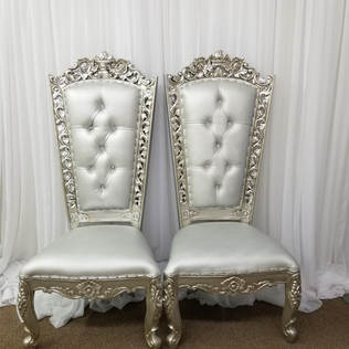 """""""Queen"""" Silver Throne Chairs"""