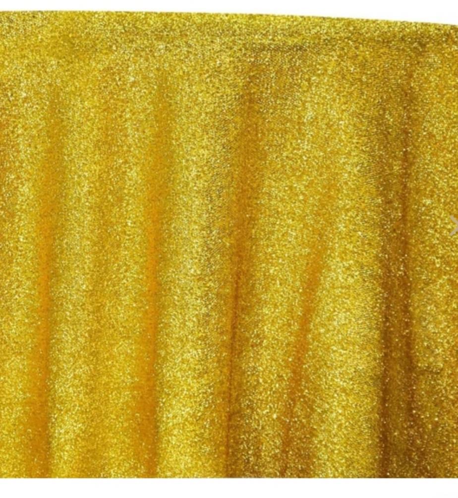 "132"" Round Gold Confette Metallic"