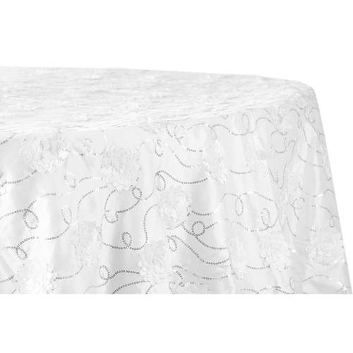 Flower-Sequin-Taffeta-Round or BanquetTablecloth
