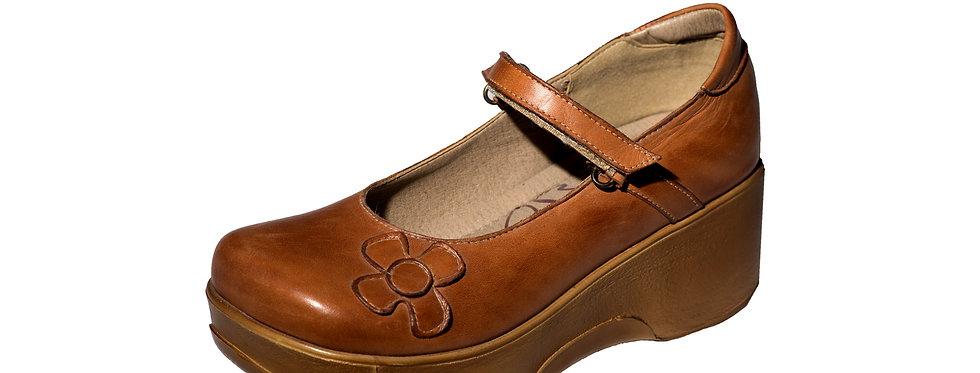 2255 נעלי ברונקס עור קאמל פרח